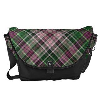 Green purple black tartan courier bag