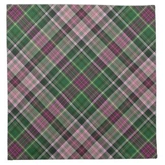 Green purple black tartan napkin
