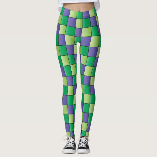 Green Purple Checked Leggins Leggings