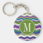 Green & Purple Chevron Pattern with Monogram Basic Round Button Key Ring