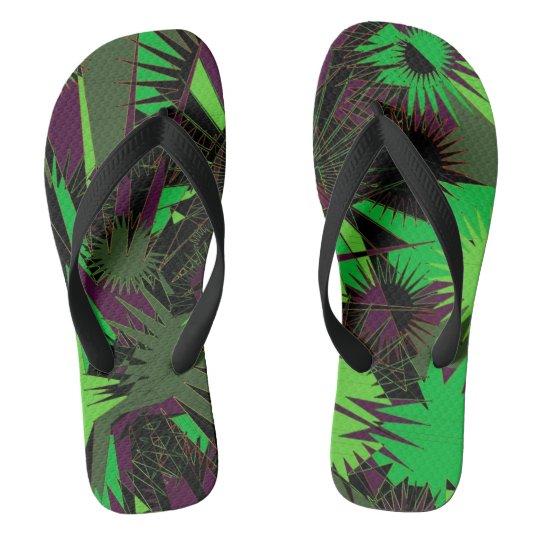 Green/Purple Custom Wide Straps / Flip Flops