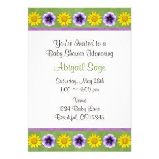 Green Purple Daisy Flower Baby Shower Invitation