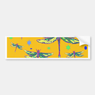 Green-Purple Dragonflies Yellow Gifts by Sharles Bumper Sticker