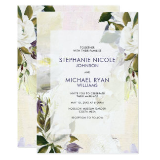Green Purple Floral Oil on Canvas Wedding Invite