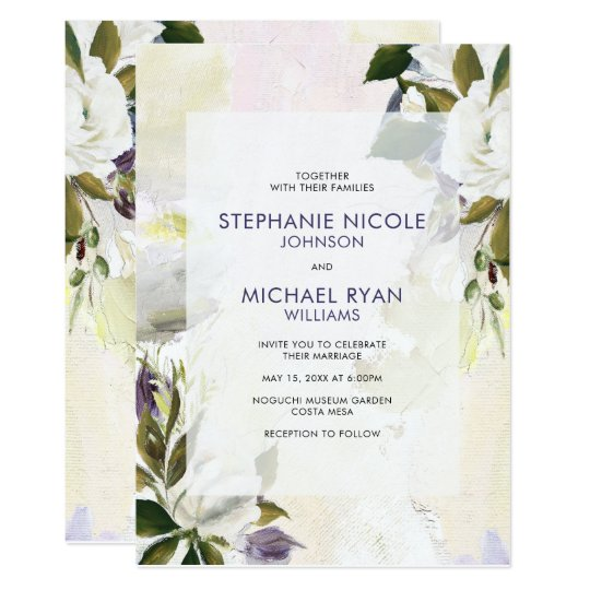 Green Purple Floral Oil on Canvas Wedding Invite