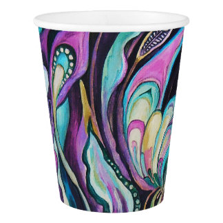 """Green & purple flowers"" -2 Paper Cup, 266 ml Paper Cup"