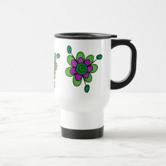 Green & Purple Fun Flowers 15 Oz Stainless Steel Travel Mug