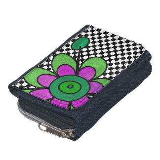 Green & Purple Fun Flowers Wallet