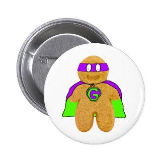 green/purple gingerbread man super hero badge