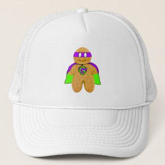green/purple gingerbread man super hero hat