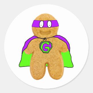 green/purple gingerbread man super hero sticker