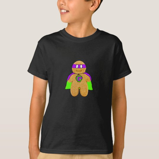 green/purple gingerbread man super hero t-shirt