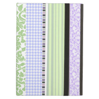 Green & purple girly stripe pattern iPad air covers