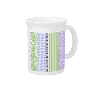 Green & purple girly stripe pattern pitcher