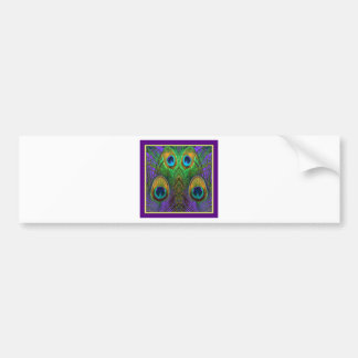 Green-Purple-Gold Peacock Feathers gifts Bumper Sticker