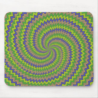 Green purple hypnotic spiral mouse pads