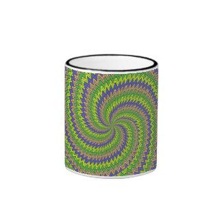 Green purple hypnotic spiral mugs