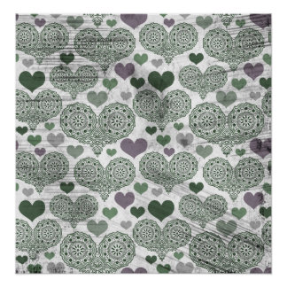 Green & Purple Lace Hearts Design Poster