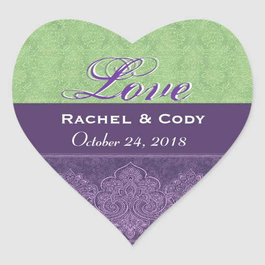 Green Purple Love Bride and Groom Date V08A Heart Sticker