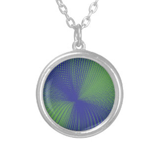 green purple mesh round pendant necklace