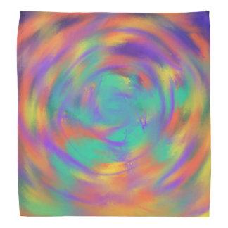 Green Purple Orange Spiral Abstract Art Design Bandana