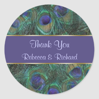 Green purple peacock Wedding Thank you Sticker