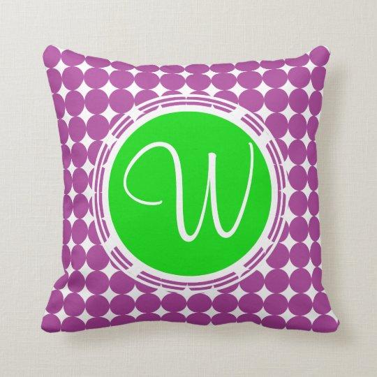 Green & Purple Polka Dot Monogram Cushion