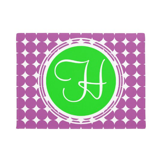 Green & Purple Polka Dot Monogram Doormat