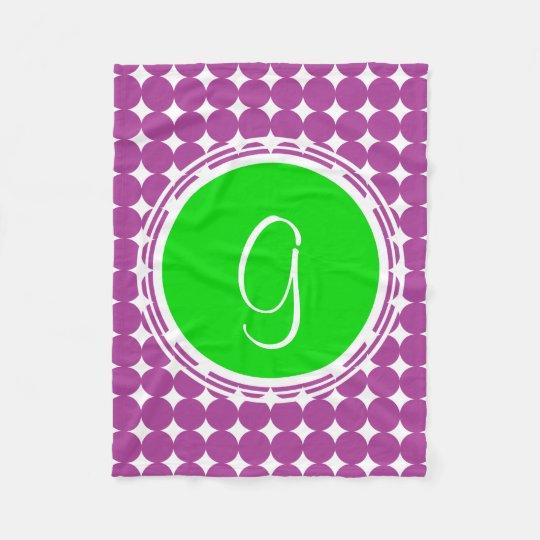 Green & Purple Polka Dot Monogram Fleece Blanket