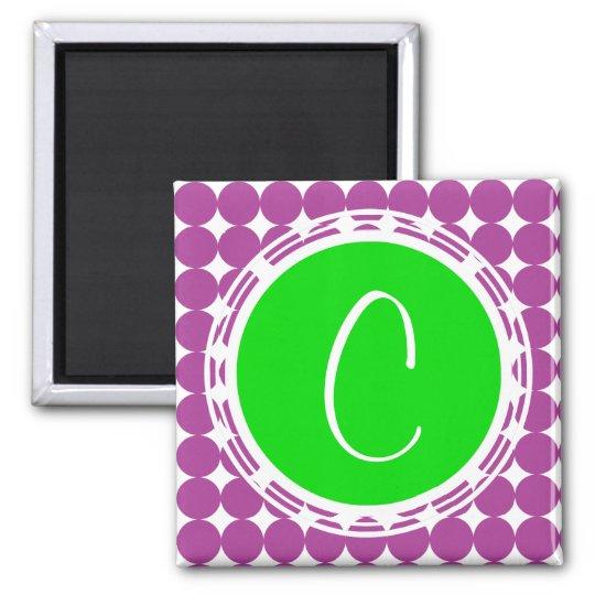 Green & Purple Polka Dot Monogram Magnet