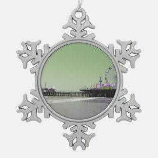 Green Purple Santa Monica Pier Pewter Snowflake Decoration