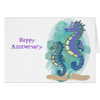 Green & Purple Seahorses Card