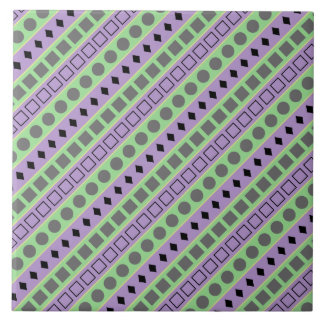 Green & Purple Stripes; Squares, Diamonds, Circles Tile