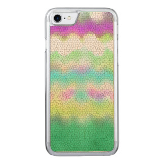 Green Purple Teal Ikat Chevron Zigzag Carved iPhone 7 Case