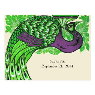 Green Purple Vintage Peacock Save the Date Postcard