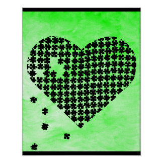 Green Puzzle Heart Poster
