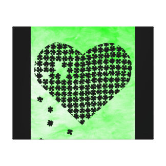 Green Puzzle Heart Stretched Canvas Print
