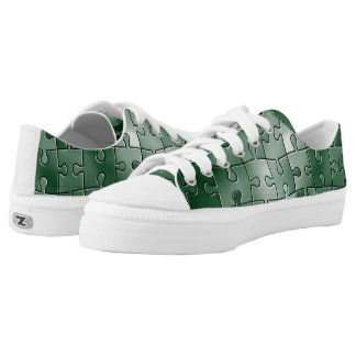 Green puzzle tiles low tops
