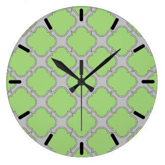 Green Quatrefoil Large Clock