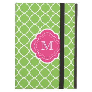 Green Quatrefoil with Pink Monogram iPad Air Covers