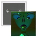 Green Queen Alien, Abstract Art Badge