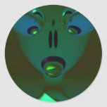 Green Queen Alien, Abstract Art Round Stickers