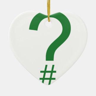 Green Question Tag/Hash Mark Ornament