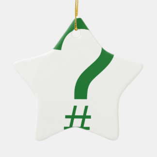 Green Question Tag/Hash Mark Double-Sided Star Ceramic Christmas Ornament
