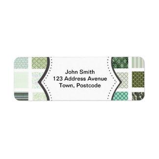 Green quilt mosaic pattern return address label