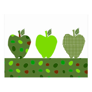 Green Quilted Apples Postcard