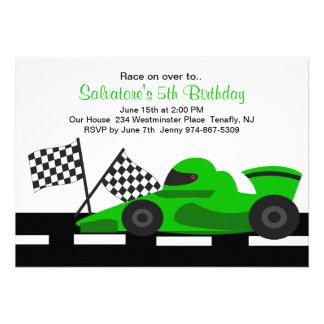 Green Race Car Boys Birthday Invitation