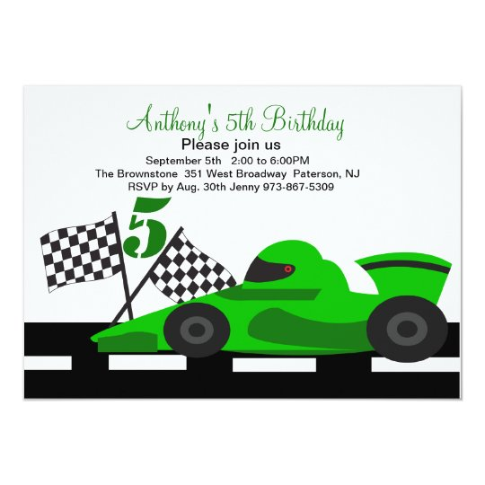 Green Race Car  Boys Fifth Birthday Invitation