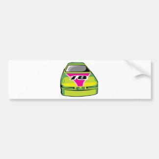 green race car bumper sticker