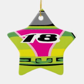 green race car ceramic star decoration